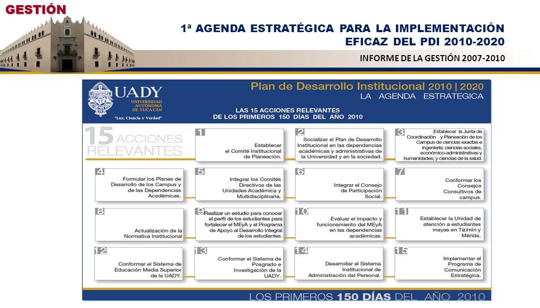 GESTIÓN 1ª AGENDA ESTRATÉGICA PARA LA IMPLEMENTACIÓN EFICAZ DEL PDI 2010-2020 INFORME DE LA GESTIÓN 2007-2010