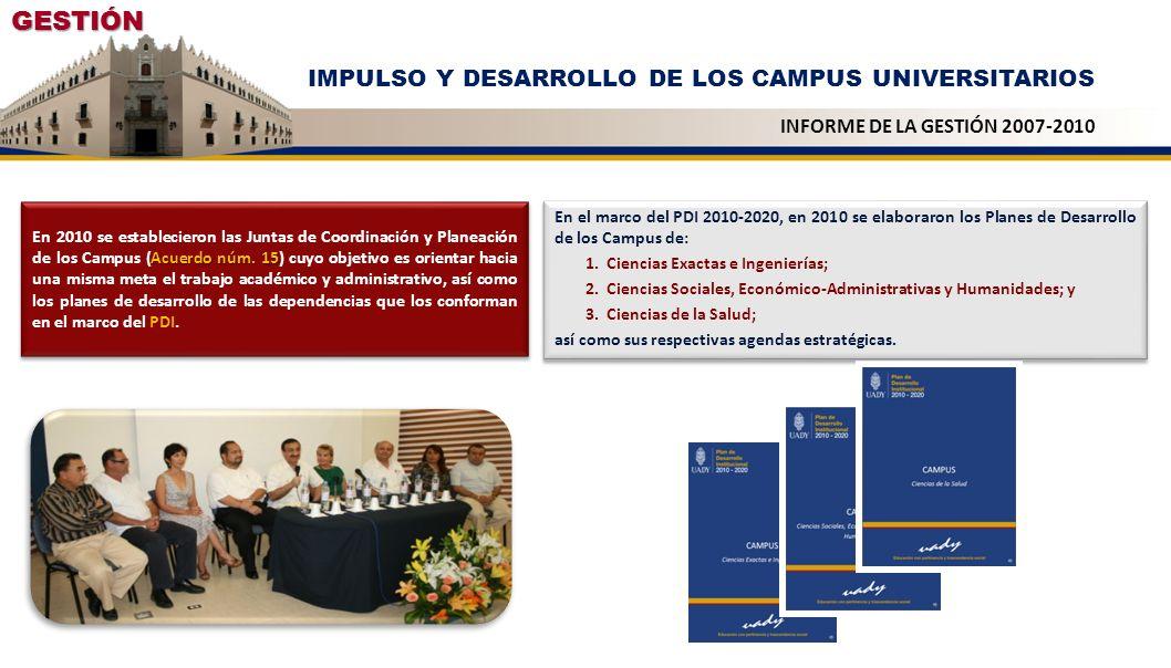 GESTIÓN IMPULSO Y DESARROLLO DE LOS CAMPUS UNIVERSITARIOS INFORME DE LA GESTIÓN 2007-2010 Acuerdo núm. 15 En 2010 se establecieron las Juntas de Coord