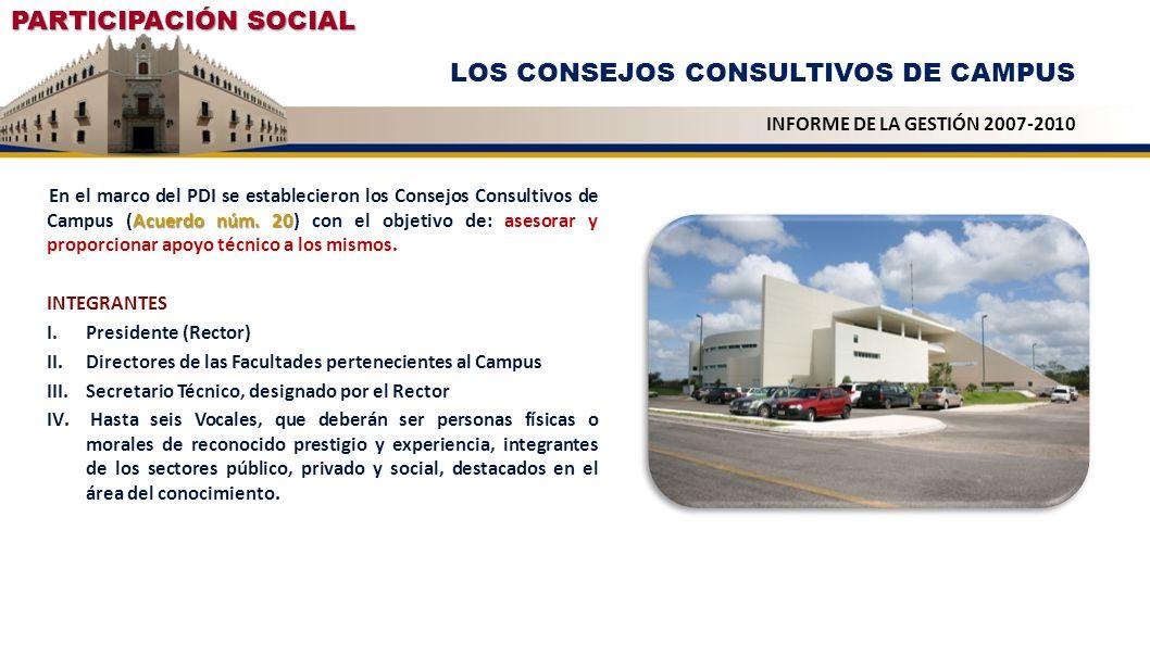 PARTICIPACIÓN SOCIAL LOS CONSEJOS CONSULTIVOS DE CAMPUS INFORME DE LA GESTIÓN 2007-2010 Acuerdo núm. 20 En el marco del PDI se establecieron los Conse