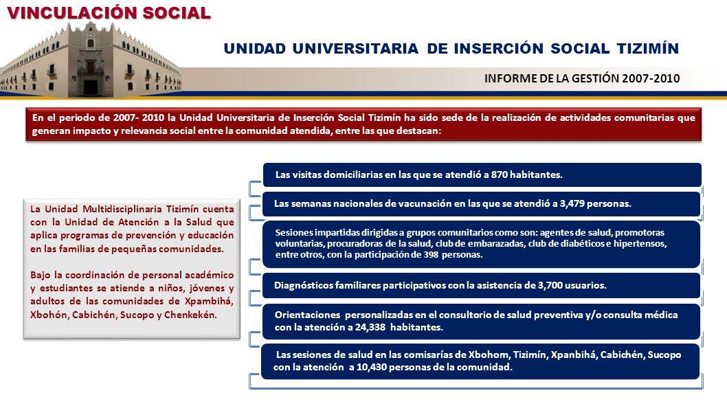 VINCULACIÓN SOCIAL UNIDAD UNIVERSITARIA DE INSERCIÓN SOCIAL TIZIMÍN INFORME DE LA GESTIÓN 2007-2010 Las visitas domiciliarias en las que se atendió a