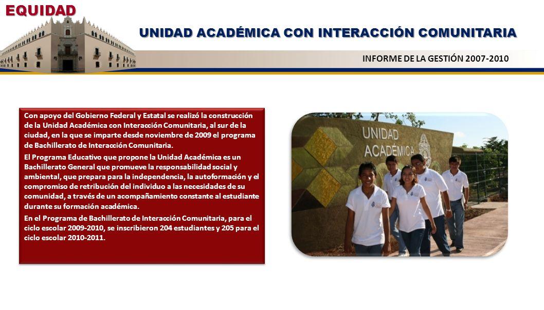 UNIDAD ACADÉMICA CON INTERACCIÓN COMUNITARIA Con apoyo del Gobierno Federal y Estatal se realizó la construcción de la Unidad Académica con Interacció