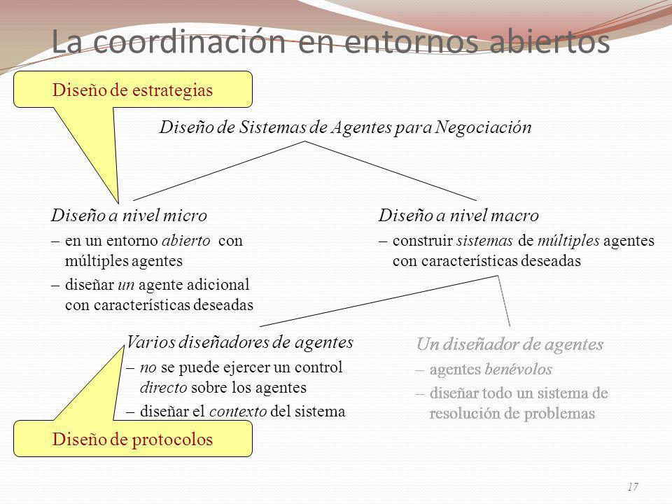 La coordinación en entornos abiertos Diseño de Sistemas de Agentes para Negociación Un diseñador de agentes –agentes benévolos –diseñar todo un sistema de resolución de problemas Diseño a nivel micro –en un entorno abierto con múltiples agentes –diseñar un agente adicional con características deseadas Diseño a nivel macro –construir sistemas de múltiples agentes con características deseadas Varios diseñadores de agentes –no se puede ejercer un control directo sobre los agentes –diseñar el contexto del sistema Diseño de protocolos Diseño de estrategias Un diseñador de agentes –agentes benévolos –diseñar todo un sistema de resolución de problemas 17