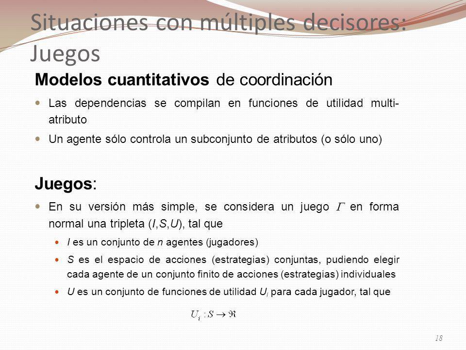 Situaciones con múltiples decisores: Juegos Modelos cuantitativos de coordinación Las dependencias se compilan en funciones de utilidad multi- atributo Un agente sólo controla un subconjunto de atributos (o sólo uno) Juegos: En su versión más simple, se considera un juego en forma normal una tripleta (I,S,U), tal que I es un conjunto de n agentes (jugadores) S es el espacio de acciones (estrategias) conjuntas, pudiendo elegir cada agente de un conjunto finito de acciones (estrategias) individuales U es un conjunto de funciones de utilidad U i para cada jugador, tal que 18