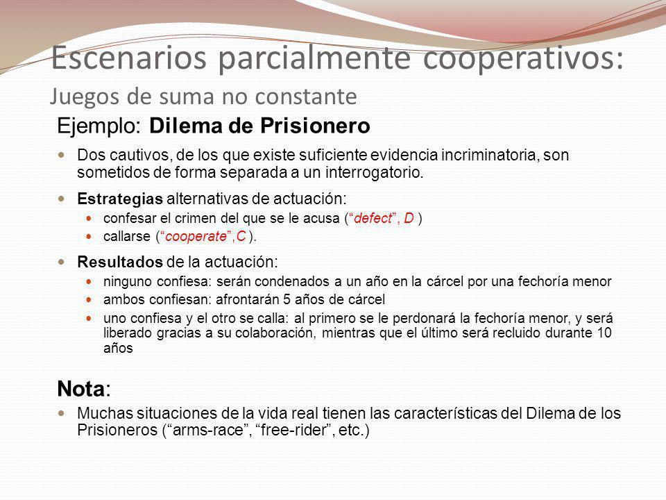 Ejemplo: Dilema de Prisionero Dos cautivos, de los que existe suficiente evidencia incriminatoria, son sometidos de forma separada a un interrogatorio.