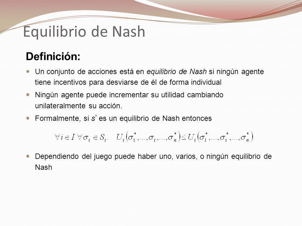 Equilibrio de Nash Definición: Un conjunto de acciones está en equilibrio de Nash si ningún agente tiene incentivos para desviarse de él de forma individual Ningún agente puede incrementar su utilidad cambiando unilateralmente su acción.