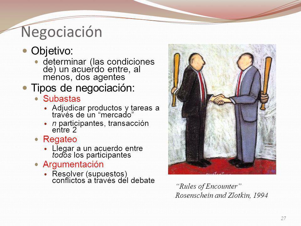 Negociación Objetivo: determinar (las condiciones de) un acuerdo entre, al menos, dos agentes Tipos de negociación: Subastas Adjudicar productos y tareas a través de un mercado n participantes, transacción entre 2 Regateo Llegar a un acuerdo entre todos los participantes Argumentación Resolver (supuestos) conflictos a través del debate Rules of Encounter Rosenschein and Zlotkin, 1994 27