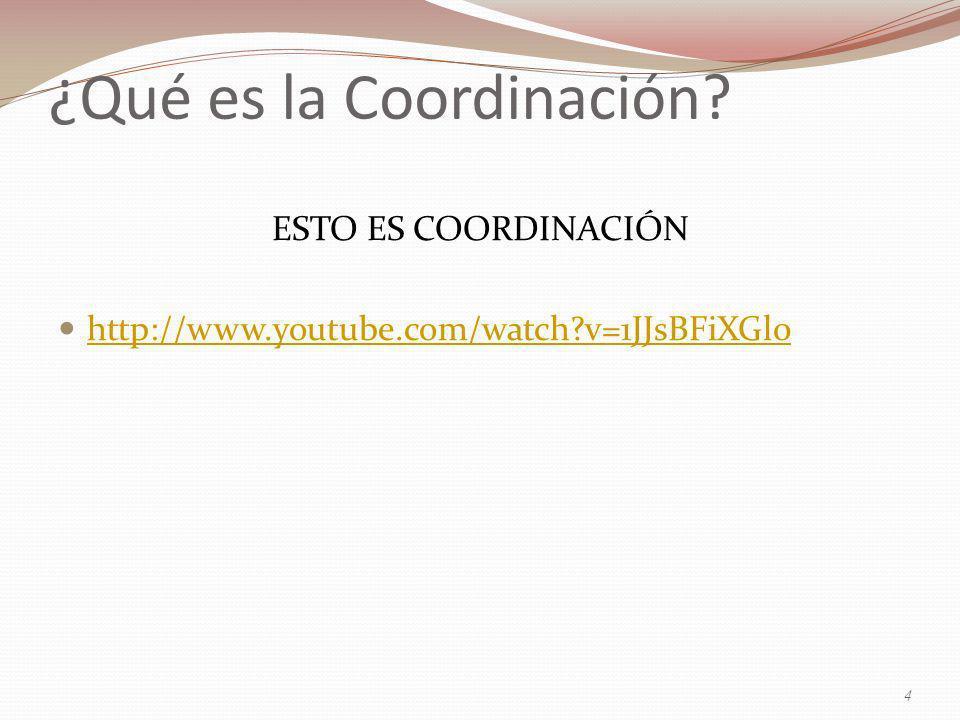 ESTO ES COORDINACIÓN http://www.youtube.com/watch?v=1JJsBFiXGl0 4 ¿Qué es la Coordinación?