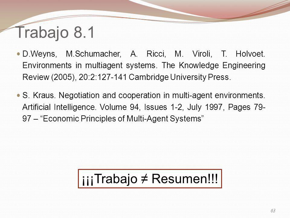 Trabajo 8.1 D.Weyns, M.Schumacher, A. Ricci, M. Viroli, T. Holvoet. Environments in multiagent systems. The Knowledge Engineering Review (2005), 20:2: