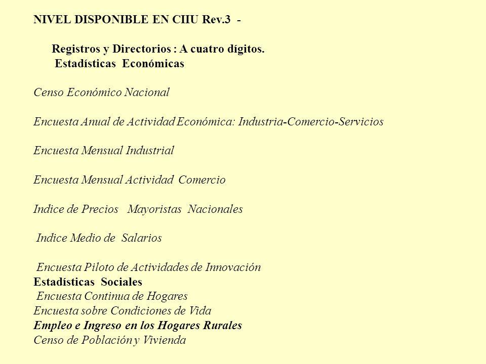 NIVEL DISPONIBLE EN CIIU Rev.3 - Registros y Directorios : A cuatro dígitos. Estadísticas Económicas Censo Económico Nacional Encuesta Anual de Activi
