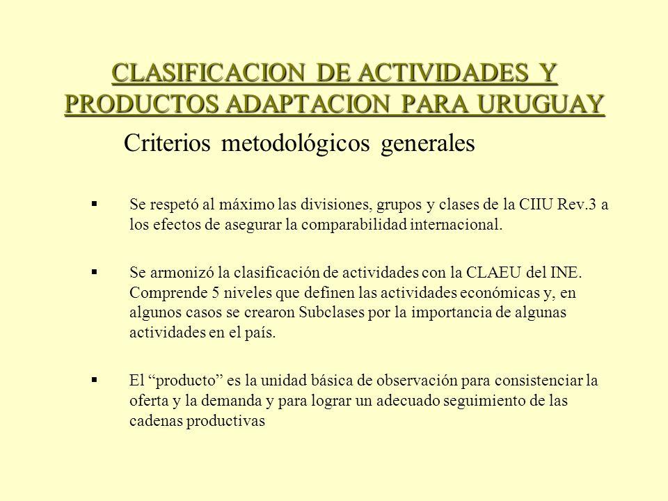 CLASIFICACION DE ACTIVIDADES Y PRODUCTOS ADAPTACION PARA URUGUAY Criterios metodológicos generales Se respetó al máximo las divisiones, grupos y clases de la CIIU Rev.3 a los efectos de asegurar la comparabilidad internacional.