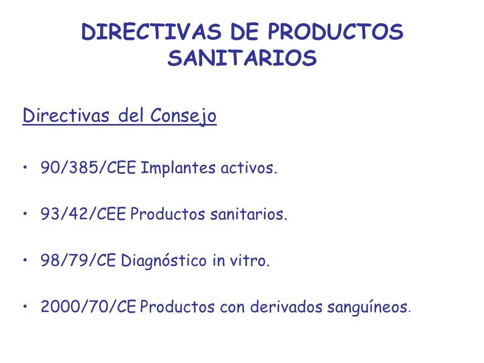 DIRECTIVAS DE PRODUCTOS SANITARIOS Directivas del Consejo 90/385/CEE Implantes activos. 93/42/CEE Productos sanitarios. 98/79/CE Diagnóstico in vitro.