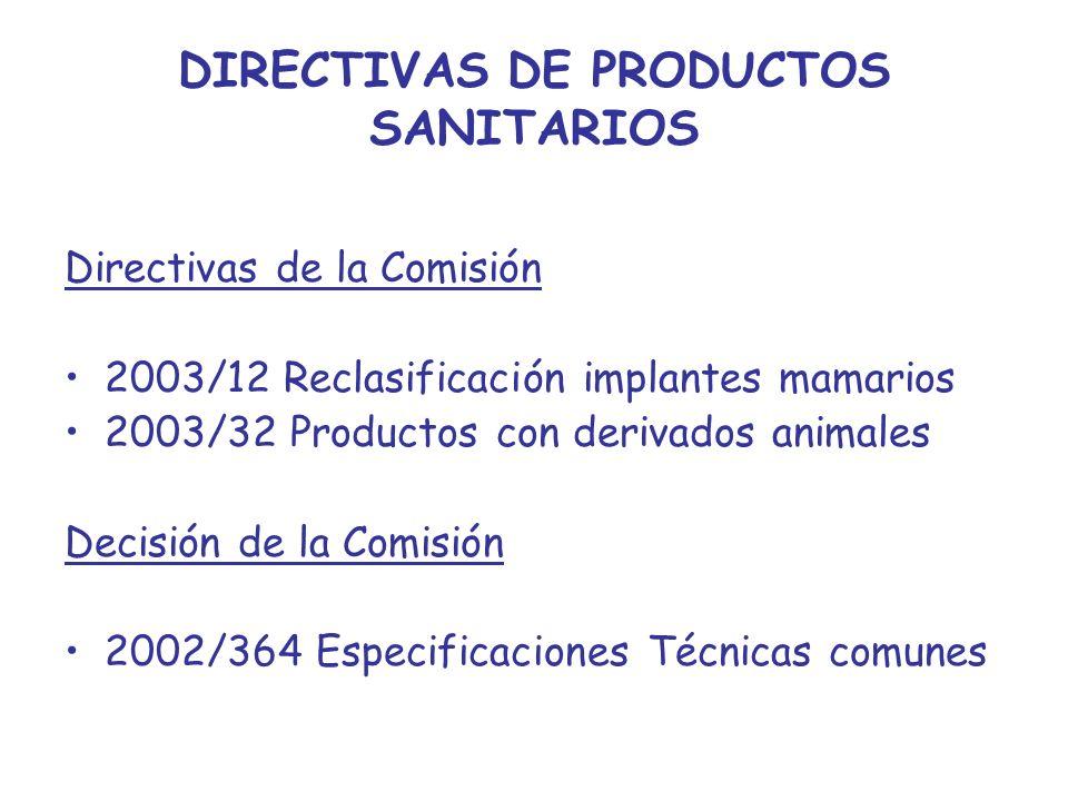 DIRECTIVAS DE PRODUCTOS SANITARIOS Directivas de la Comisión 2003/12 Reclasificación implantes mamarios 2003/32 Productos con derivados animales Decis