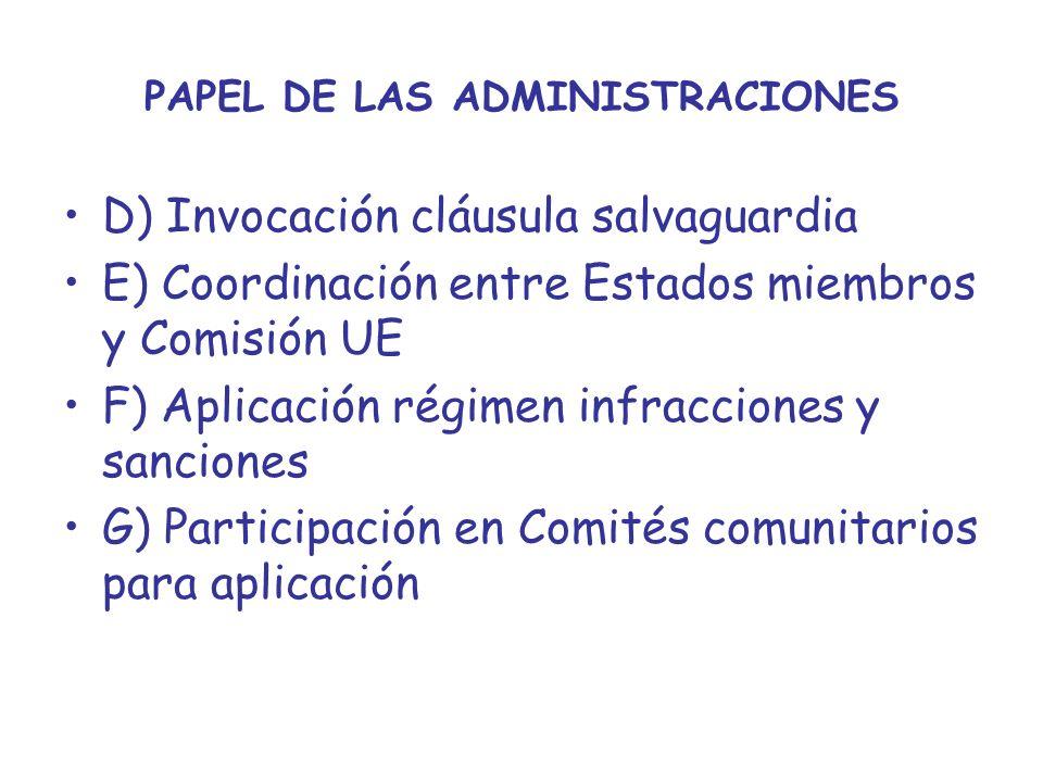 PAPEL DE LAS ADMINISTRACIONES D) Invocación cláusula salvaguardia E) Coordinación entre Estados miembros y Comisión UE F) Aplicación régimen infraccio
