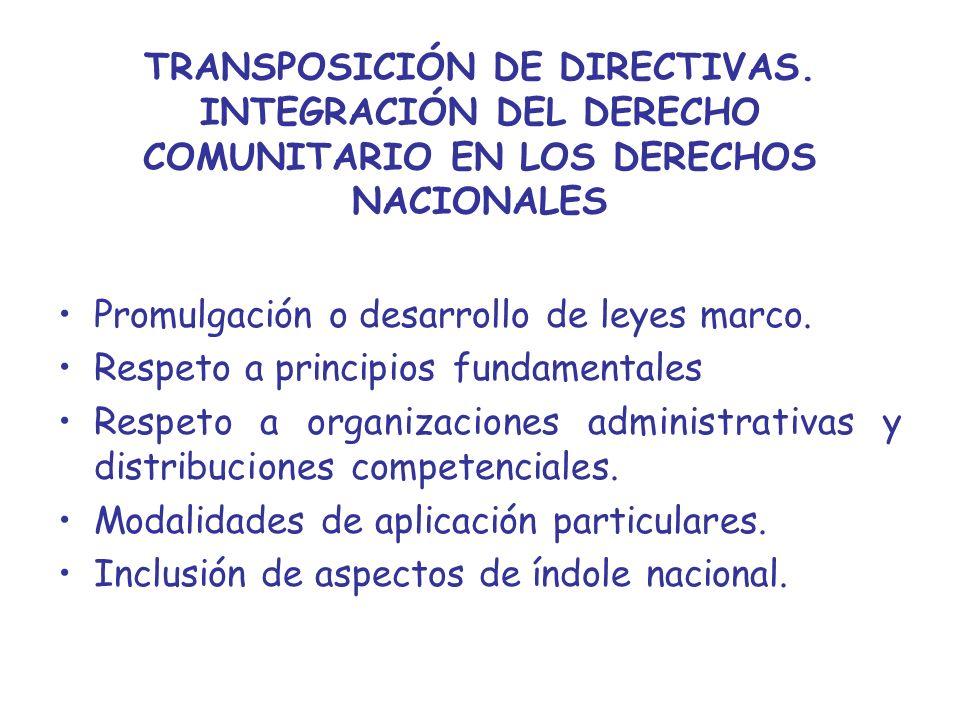TRANSPOSICIÓN DE DIRECTIVAS. INTEGRACIÓN DEL DERECHO COMUNITARIO EN LOS DERECHOS NACIONALES Promulgación o desarrollo de leyes marco. Respeto a princi