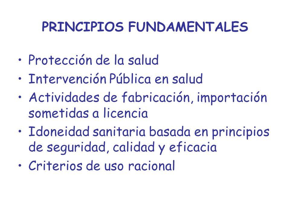 PRINCIPIOS FUNDAMENTALES Protección de la salud Intervención Pública en salud Actividades de fabricación, importación sometidas a licencia Idoneidad s