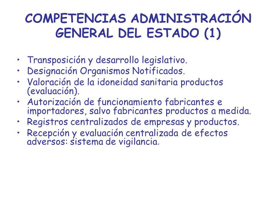 COMPETENCIAS ADMINISTRACIÓN GENERAL DEL ESTADO (1) Transposición y desarrollo legislativo. Designación Organismos Notificados. Valoración de la idonei