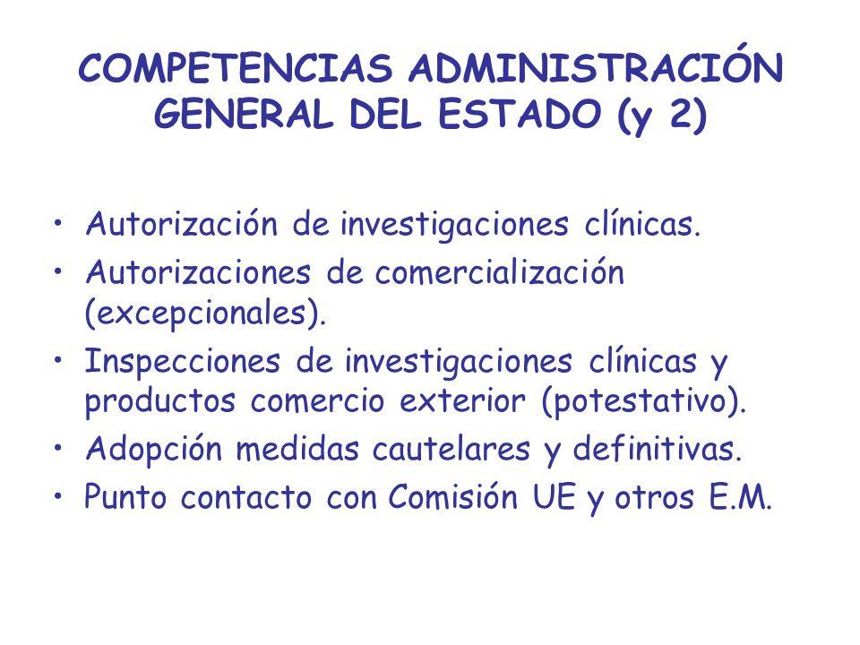 COMPETENCIAS ADMINISTRACIÓN GENERAL DEL ESTADO (y 2) Autorización de investigaciones clínicas. Autorizaciones de comercialización (excepcionales). Ins