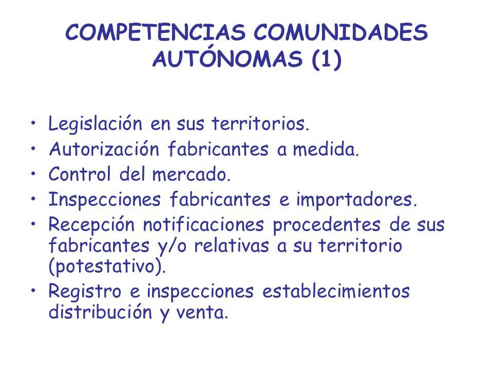 COMPETENCIAS COMUNIDADES AUTÓNOMAS (1) Legislación en sus territorios. Autorización fabricantes a medida. Control del mercado. Inspecciones fabricante