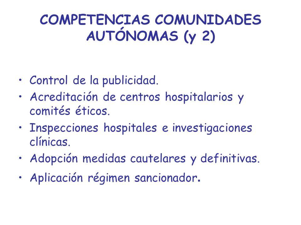 COMPETENCIAS COMUNIDADES AUTÓNOMAS (y 2) Control de la publicidad. Acreditación de centros hospitalarios y comités éticos. Inspecciones hospitales e i