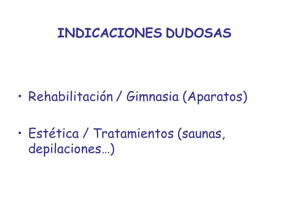 INDICACIONES DUDOSAS Rehabilitación / Gimnasia (Aparatos) Estética / Tratamientos (saunas, depilaciones…)