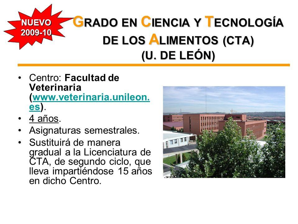 G RADO EN C IENCIA Y T ECNOLOGÍA DE LOS A LIMENTOS (CTA) (U. DE LEÓN) Centro: Facultad de Veterinaria (www.veterinaria.unileon. es).www.veterinaria.un