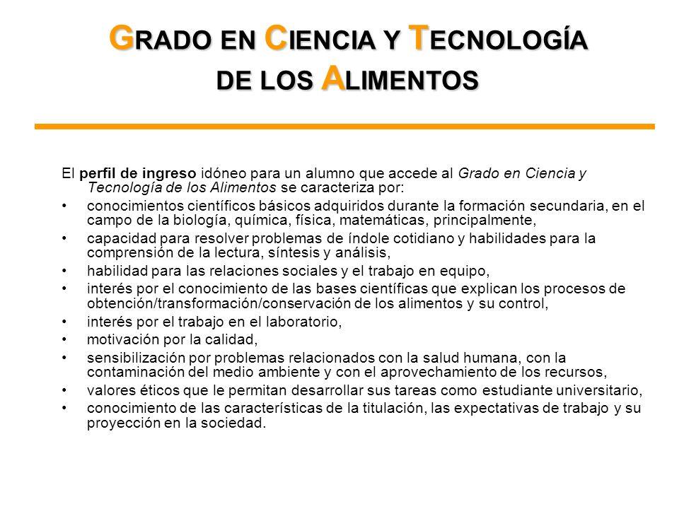 El perfil de ingreso idóneo para un alumno que accede al Grado en Ciencia y Tecnología de los Alimentos se caracteriza por: conocimientos científicos