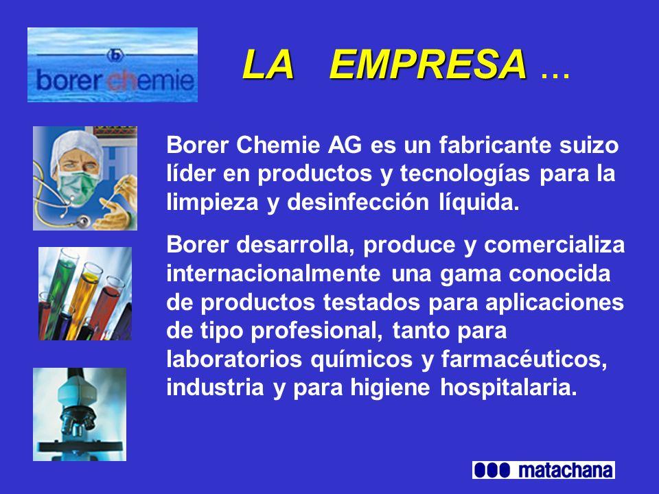 HISTORIA DE Borer Chemie AG (1/4) Fundación: 1965 1965–1980:Desarrollo y produción de productos de limpieza para laboratorios Baños de Inmersión ultrasónicos Lavadoras de laboratorio