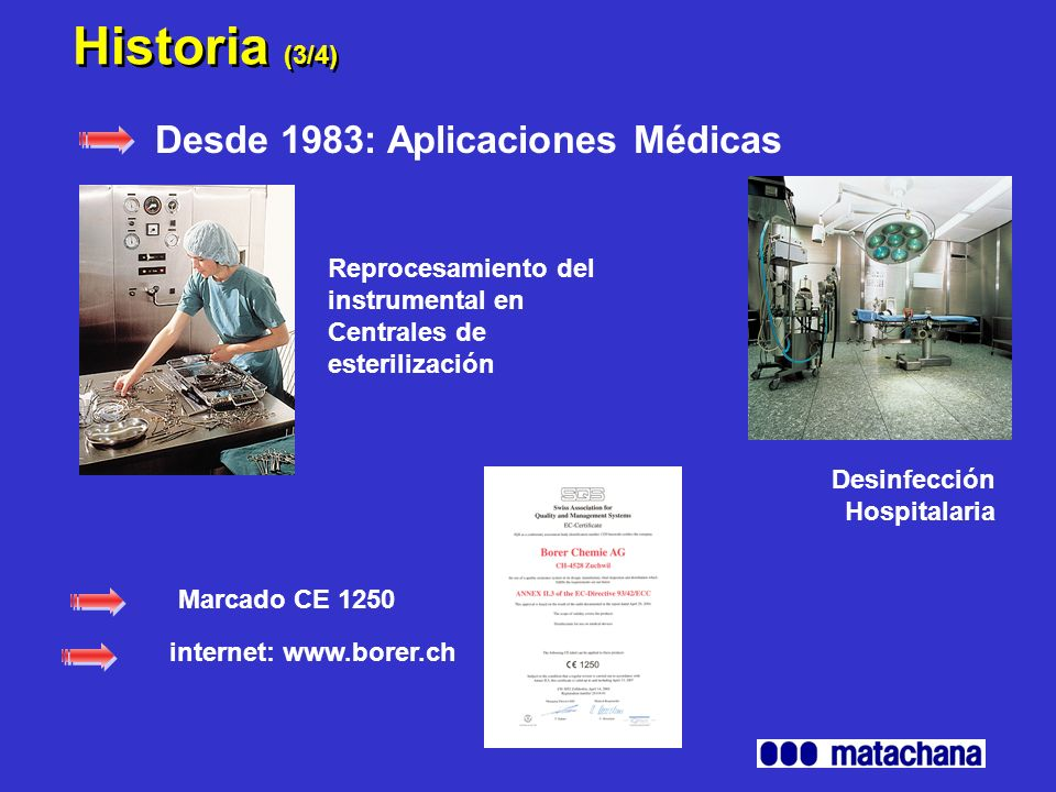 Historia (4/4) Industria farmacéutica Servicios de apoyo para la validación de procesos de limpieza.