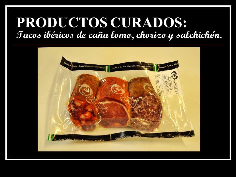 PRODUCTOS CURADOS: Tacos ibéricos de morcilla, chorizo y salchichón.
