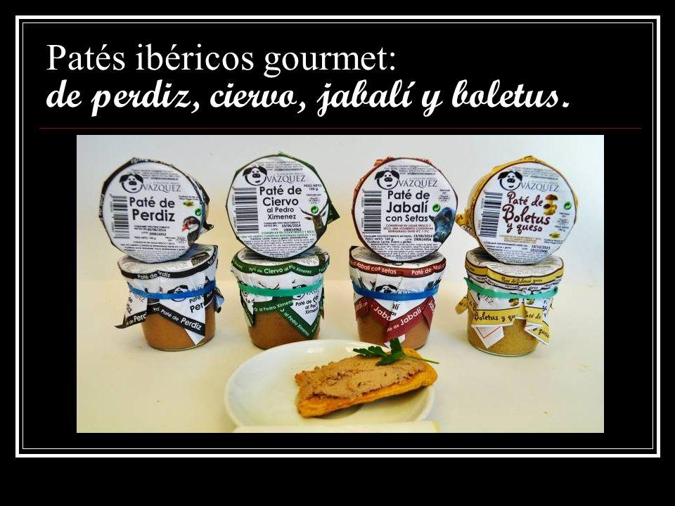 Patés ibéricos gourmet: De secreto, picante, morcilla y piñones y solomillo braseado.