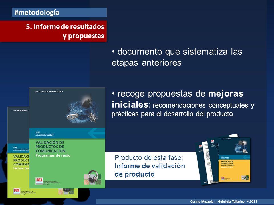 documento que sistematiza las etapas anteriores recoge propuestas de mejoras iniciales: recomendaciones conceptuales y prácticas para el desarrollo del producto.