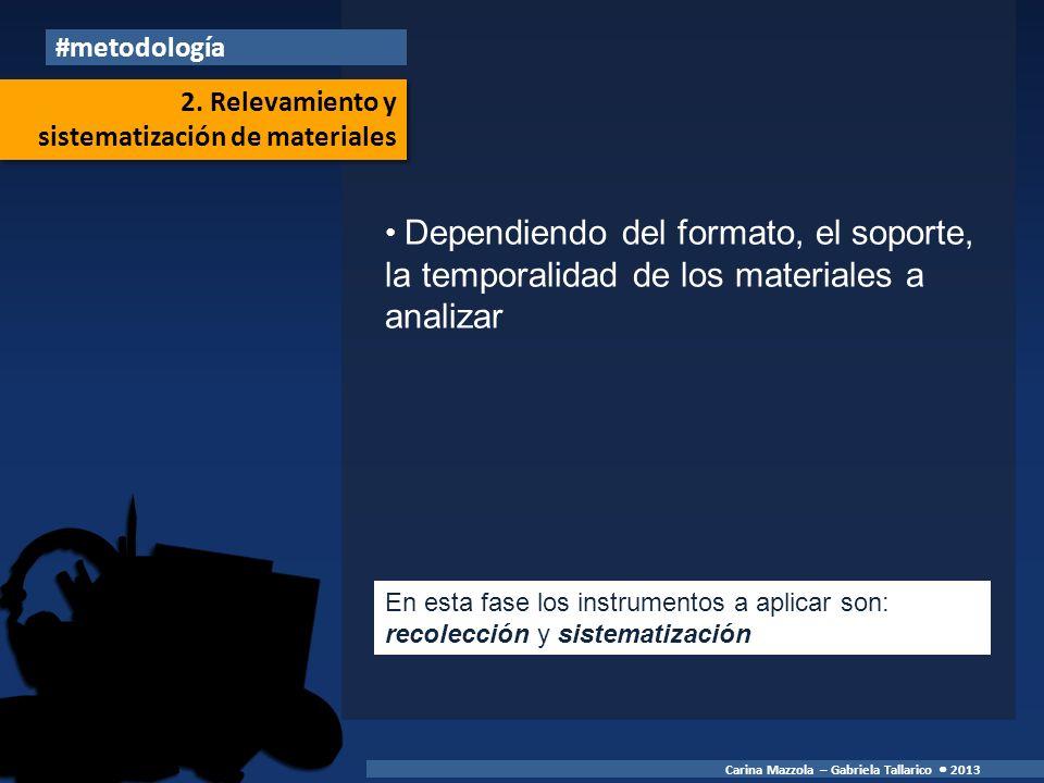 Dependiendo del formato, el soporte, la temporalidad de los materiales a analizar #metodología Carina Mazzola – Gabriela Tallarico 2013 En esta fase los instrumentos a aplicar son: recolección y sistematización 2.