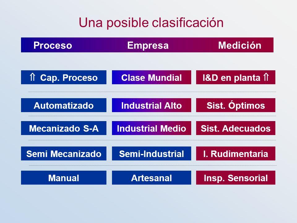 Artesanal Industrial Medio Industrial Alto Clase Mundial Semi-Industrial Manual Mecanizado S-A Automatizado Cap. Proceso Semi Mecanizado Insp. Sensori