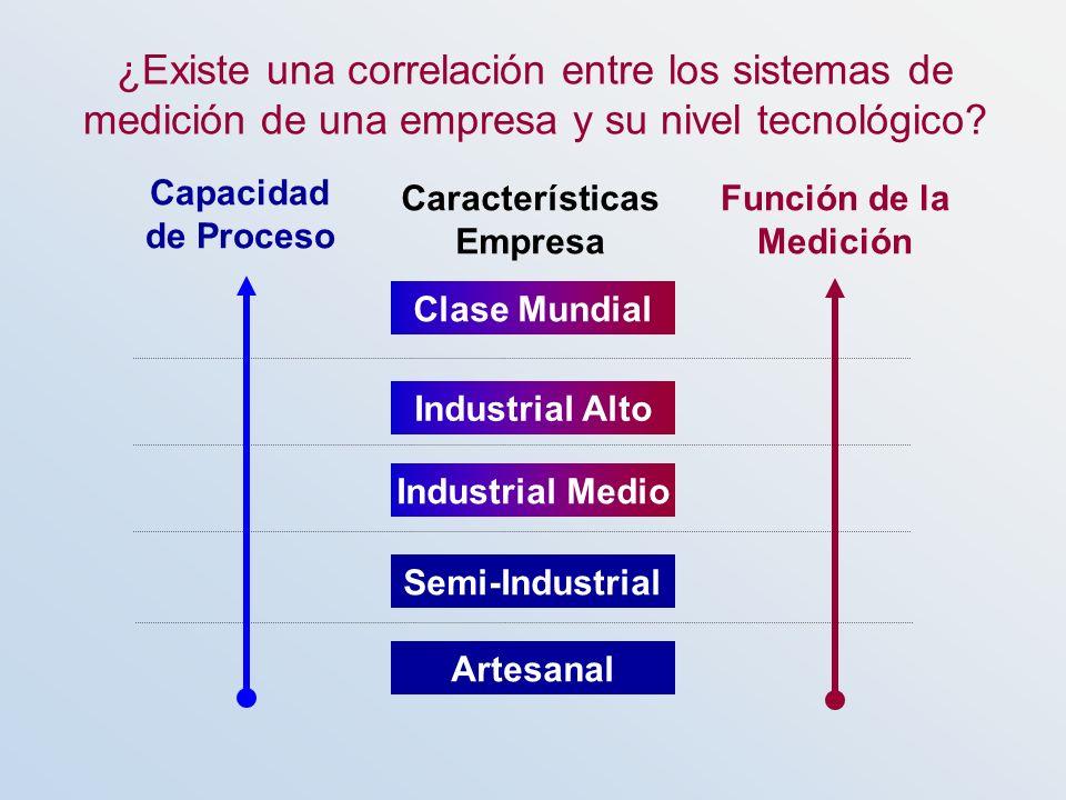 Función de la Medición Características Empresa Artesanal Industrial Medio Industrial Alto Clase Mundial Semi-Industrial Capacidad de Proceso ¿Existe u