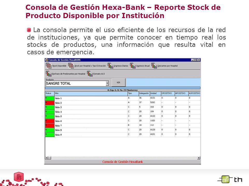 Consola de Gestión Hexa-Bank – Reporte Stock de Producto Disponible por Institución La consola permite el uso eficiente de los recursos de la red de i