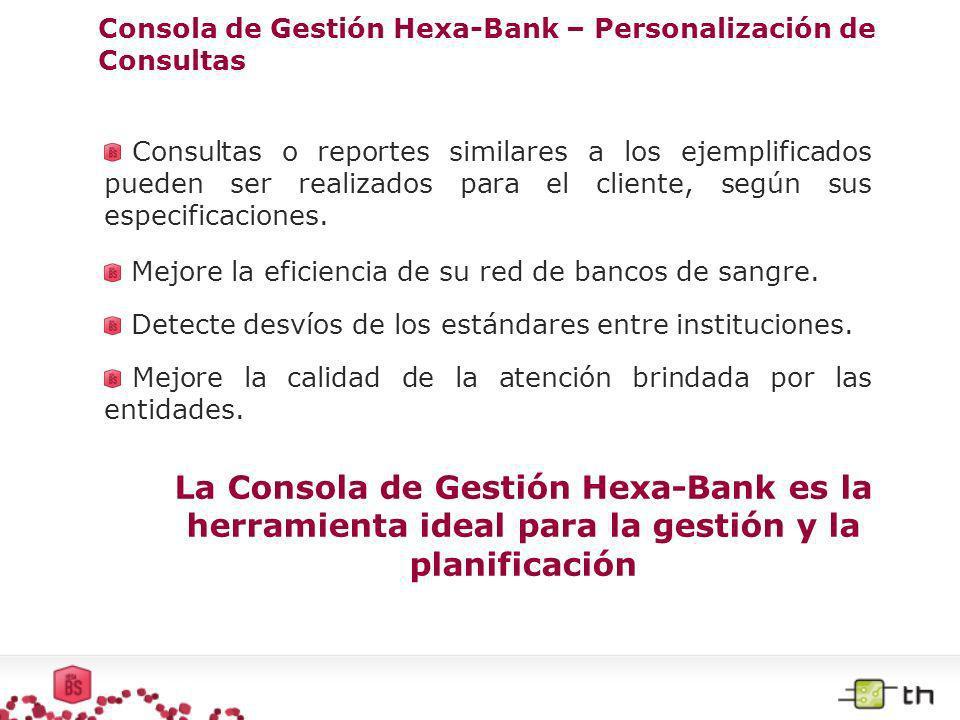 Consola de Gestión Hexa-Bank – Personalización de Consultas Consultas o reportes similares a los ejemplificados pueden ser realizados para el cliente,
