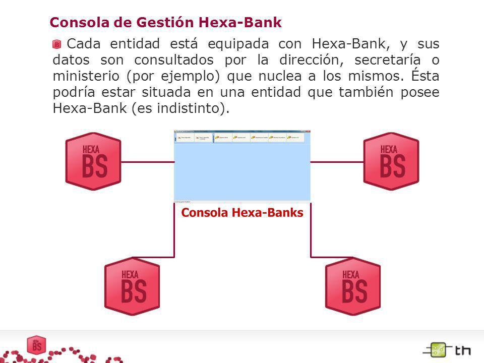 Consola de Gestión Hexa-Bank Cada entidad está equipada con Hexa-Bank, y sus datos son consultados por la dirección, secretaría o ministerio (por ejem