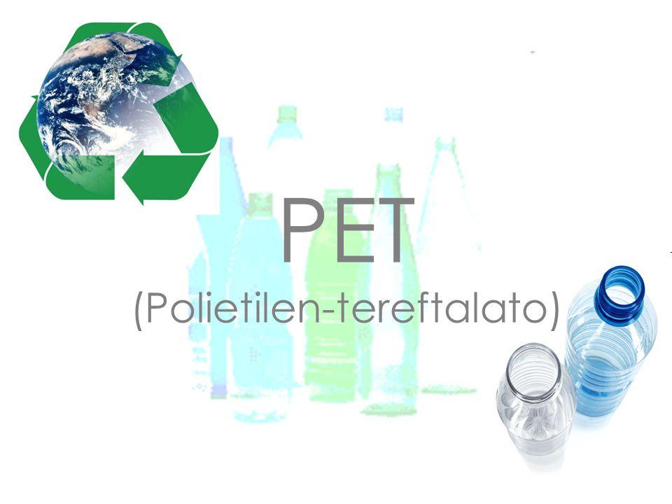 Índice 1.- Monómero y polímero 2.- Características 3.- Usos y aplicaciones 4.- Relación con el medioambiente 5.- Grupo funcional característico 6.- Reciclaje del PET 7.- Símbolo e iniciales