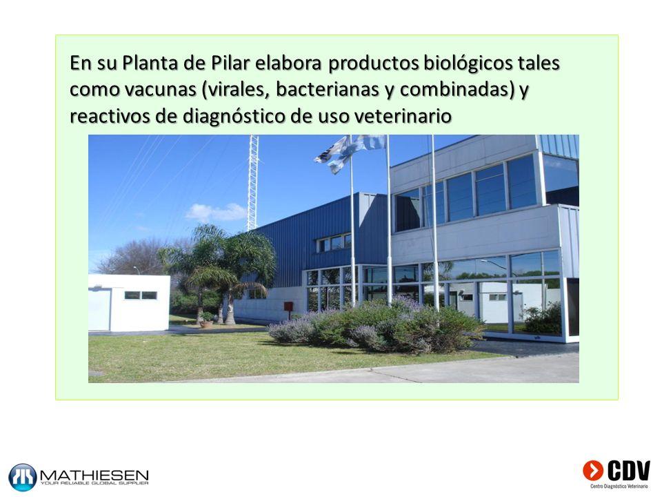 En su Planta de Pilar elabora productos biológicos tales como vacunas (virales, bacterianas y combinadas) y reactivos de diagnóstico de uso veterinari