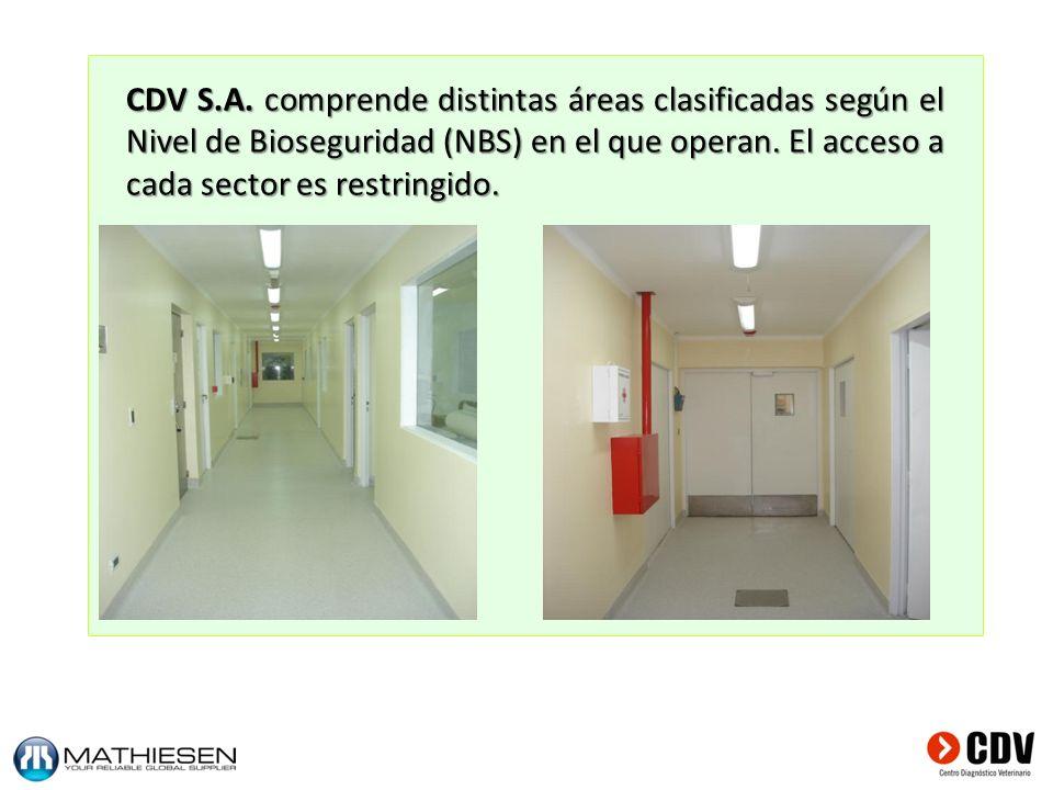 CDV S.A. comprende distintas áreas clasificadas según el Nivel de Bioseguridad (NBS) en el que operan. El acceso a cada sector es restringido.
