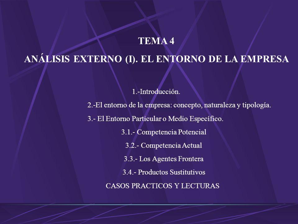 TEMA 4 ANÁLISIS EXTERNO (I).EL ENTORNO DE LA EMPRESA 1.-Introducción.