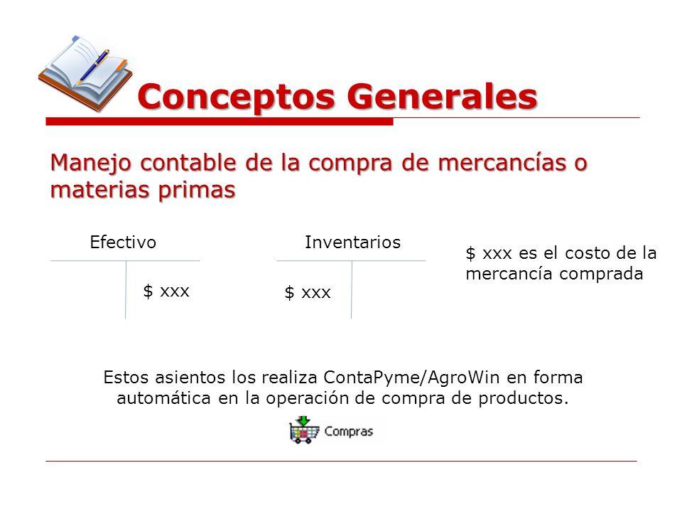 Conceptos Generales Manejo contable de la compra de mercancías o materias primas EfectivoInventarios $ xxx $ xxx es el costo de la mercancía comprada