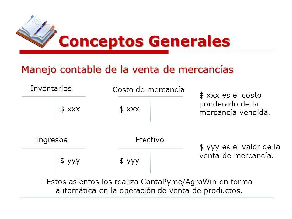 Conceptos Generales Manejo contable de la venta de mercancías Inventarios Costo de mercancía $ xxx $ xxx es el costo ponderado de la mercancía vendida