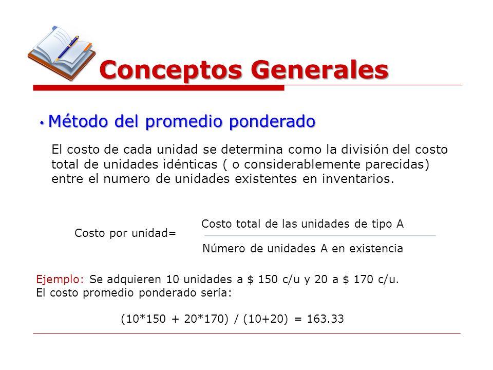 Conceptos Generales Método del promedio ponderado Método del promedio ponderado El costo de cada unidad se determina como la división del costo total