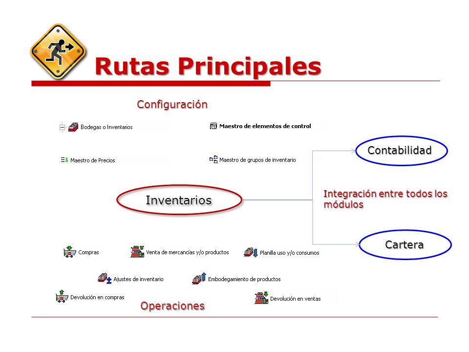 Rutas Principales Inventarios Contabilidad Cartera Configuración Operaciones Integración entre todos los módulos