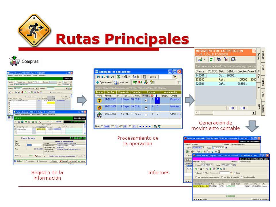Rutas Principales Registro de la información Procesamiento de la operación Generación de movimiento contable Informes