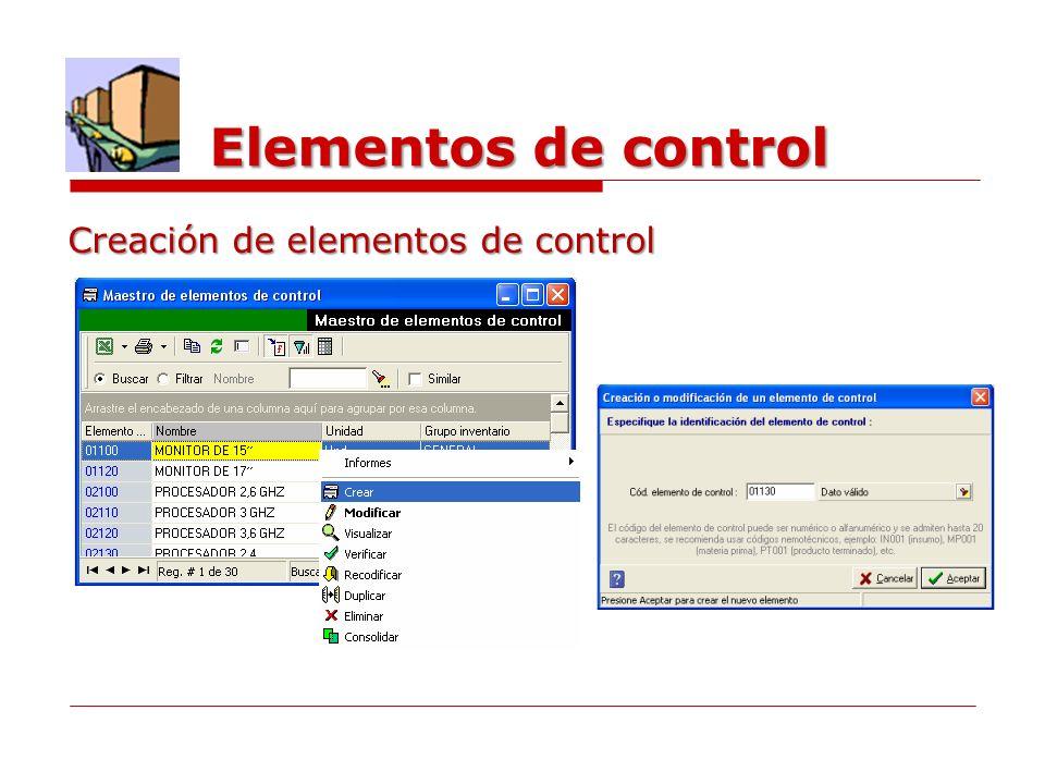 Elementos de control Creación de elementos de control