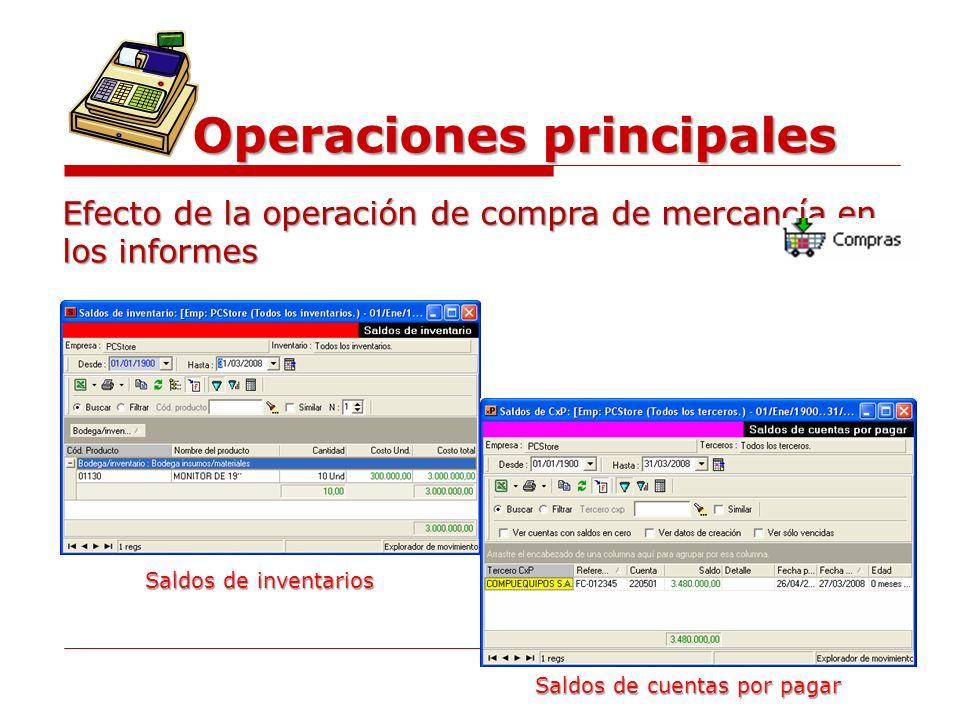 Operaciones principales Efecto de la operación de compra de mercancía en los informes Saldos de inventarios Saldos de cuentas por pagar