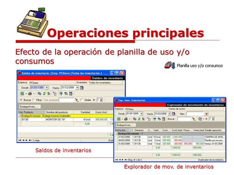 Operaciones principales Efecto de la operación de planilla de uso y/o consumos Saldos de inventarios Explorador de mov. de inventarios
