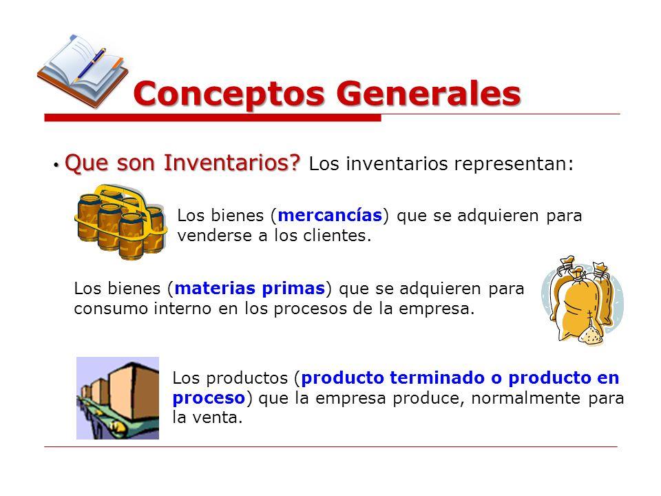 Conceptos Generales Que son Inventarios? Que son Inventarios? Los inventarios representan: Los bienes (mercancías) que se adquieren para venderse a lo
